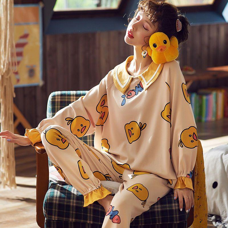 【品质睡衣】睡衣女春秋大码夏季学生长袖套装家居服可外穿月子服