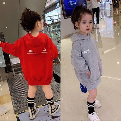 秋款女童中长款连帽卫衣儿童时尚字母印花上衣童装