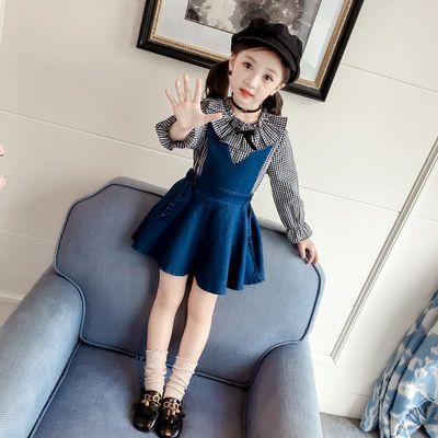 女童秋装新款童装时尚格子上衣牛仔背带裙连衣裙套装