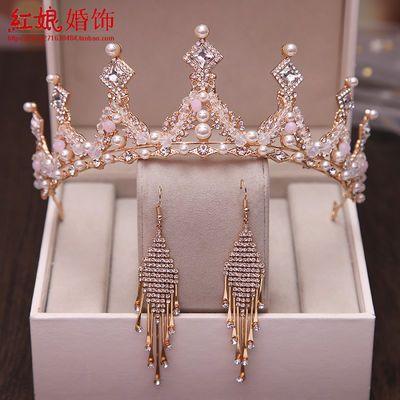 新娘皇冠耳环长款婚纱头饰王冠韩式结婚两件套装水晶公主生日发饰