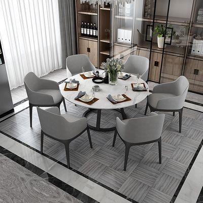 北欧大理石餐桌现代简约餐桌椅组合圆桌家用饭桌轻奢铁艺餐厅桌椅
