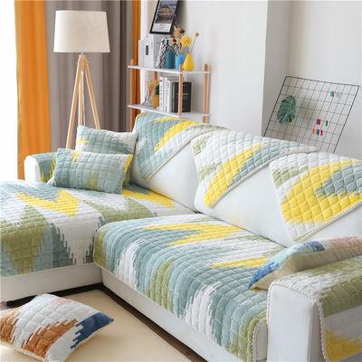 冬季沙发垫防滑毛绒北欧简约坐垫子加厚皮沙发套罩靠背巾四季通用