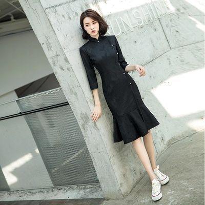 黑色改良旗袍女秋冬年轻款长袖优雅少女小个子高端祺袍鱼尾连衣裙