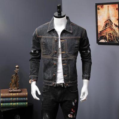 冬季个性印花男士牛仔夹克外套加肥加大码欧美宽松潮胖子刺绣上衣