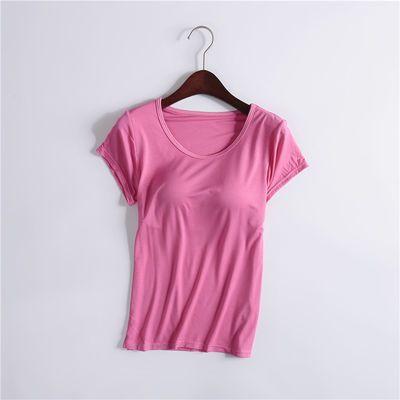 莫代尔带胸垫半袖打底衫背心T恤女免文胸罩杯一体短袖瑜伽睡衣夏