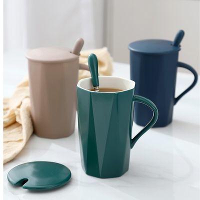 简约陶瓷马克杯杯子女家用水杯男简约个性潮流情侣杯咖啡杯大容量