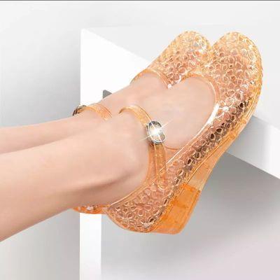 水晶鞋子女士中跟工作透明休闲旅游跳舞鞋2019新款秋季女凉鞋百搭