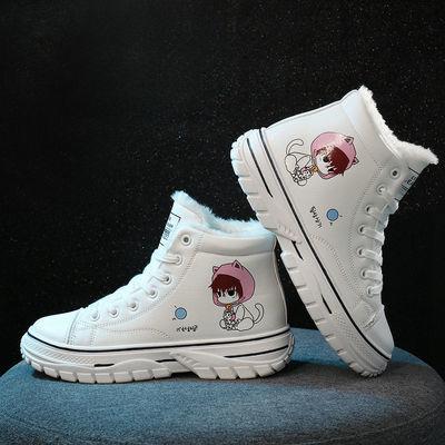 冬季保暖小白鞋女雪地靴新款高帮卡通学生加绒棉鞋韩版百搭学院风