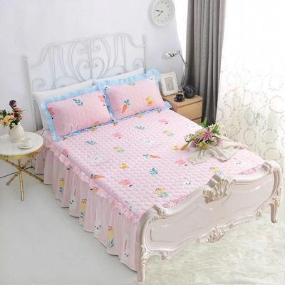 欧式无床尾床裙 单件卡通可爱纯棉两边床罩三件套全棉斜纹公主风