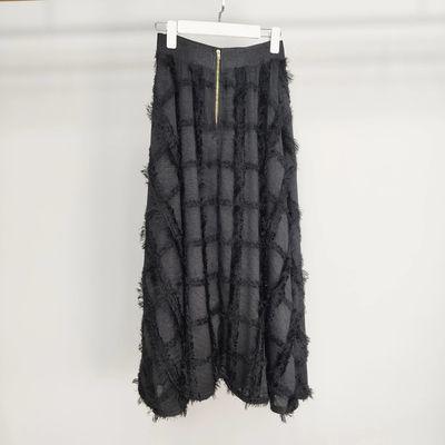1744 早春新款纯色流苏仙女高腰A字大裙摆长款半身裙
