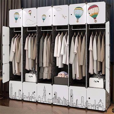 简易布衣柜收纳架钢管加粗加固塑料单人新款推拉门卧室家具儿童柜