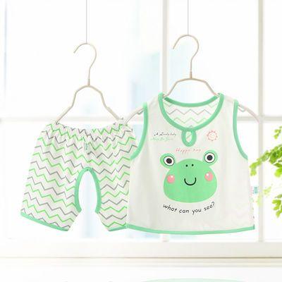 婴儿夏季纯棉背心短裤套装 宝宝超薄无袖开裆裤2件套新生儿衣服