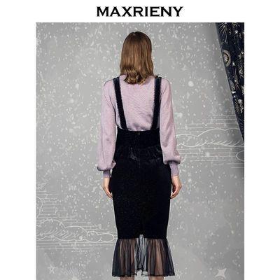 MAXRIENY2019冬季新款复古丝绒荷叶边半身裙女网纱背带中长裙