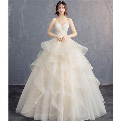 婚纱礼服2019新款春季新娘结婚简约吊带抹胸婚纱蓬蓬裙女【3月14日发完】