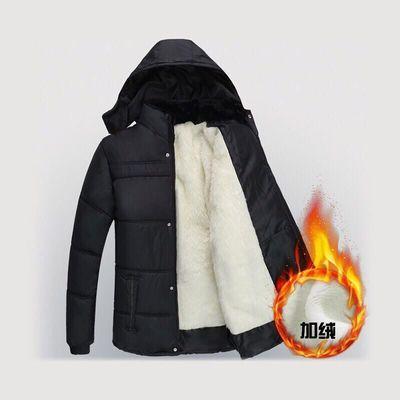 新款加绒加厚男士中长款保暖爸爸男装冬季外套棉服棉袄中老年棉衣