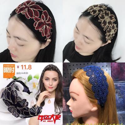 【品质优选款】超宽边定型网蕾丝发箍头箍成人压发夹卡带齿头卡