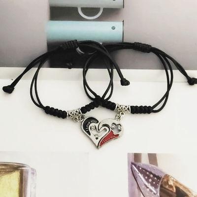 情侣手链拼接爱心一对韩版简约男女学生森系手环时尚百搭毕业礼物