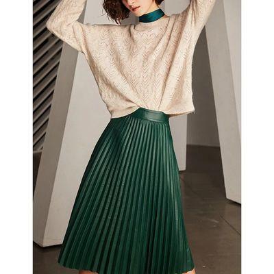U.N.Q 优雅复古 轻奢小羊皮高腰显瘦百褶半身裙中长款真皮皮裙女