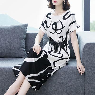 重磅桑蚕丝时尚印花裙女夏装2020新款宽松气质显瘦真丝连衣裙中长