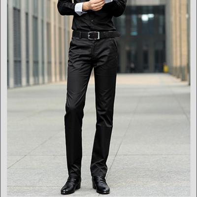 光滑亮面料男士修身直筒裤纯黑色商务西裤休闲工装裤韩版青年男裤