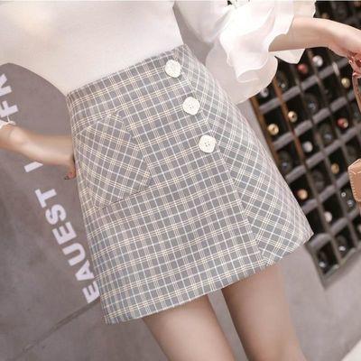 格子半身裙子女2020夏季新款韩版高腰单排扣a字裙女短裙女包臀裙