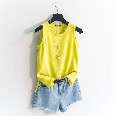 大码女装针织棉质宽松吊带背心女夏季工字无袖针织打底衫短款外穿