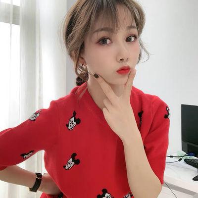 抖音2020网红LOYO 卡卡同款女装鼠年ins米奇图案短袖毛衣拼接蕾丝【2月13日发完】