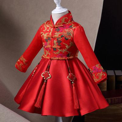 儿童红旗袍儿童连衣裙中国风婴儿唐装女童传统礼服宝宝公主裙秋冬