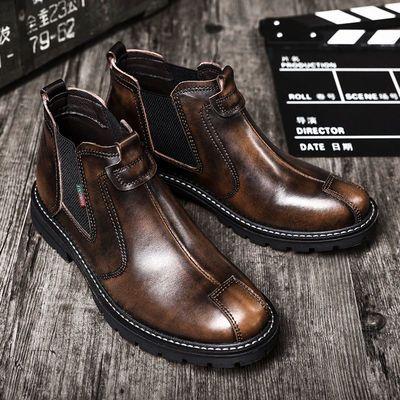 马丁靴男靴子男士潮流英伦风复古中高帮鞋皮鞋秋季切尔西短靴真皮