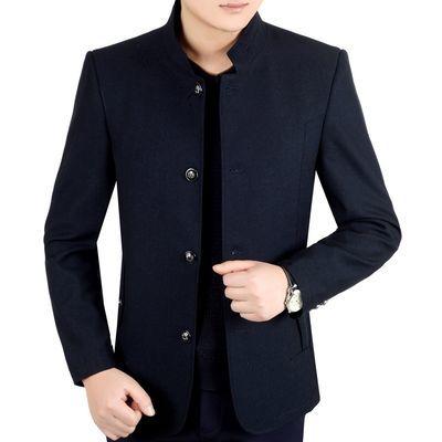 中年男士外套春秋款中老年夹克男立领爸爸装春季休闲上衣商务男装