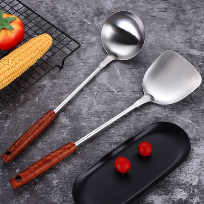 艺发新款不锈钢厨具花梨木柄锅铲汤勺长柄烹饪勺铲套装厨房炒菜铲