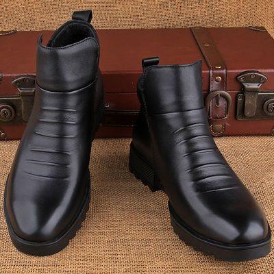 品牌高帮皮鞋男真皮英伦马丁靴冬季男鞋商务休闲保暖加绒中帮男士