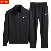 【纯棉】运动套装男春季新款两件套中老年大码休闲跑步服爸爸套装