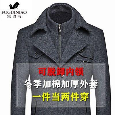 富贵鸟秋冬中年男士羊毛呢夹克外套加棉加厚中长款男装大衣爸爸装