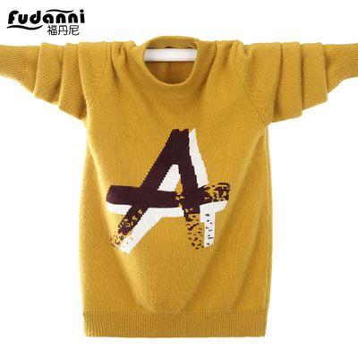 男童毛衣中大童秋冬新款加厚保暖圆领纯色儿童毛衣男孩针织羊绒衫