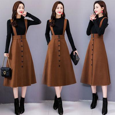 毛呢连衣裙女中长款2020冬季新款韩版气质两件套秋冬打底裙子套装
