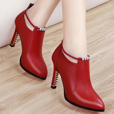 广州品质高跟鞋女细跟女鞋2020新款潮网红单鞋女韩版皮鞋红色婚鞋