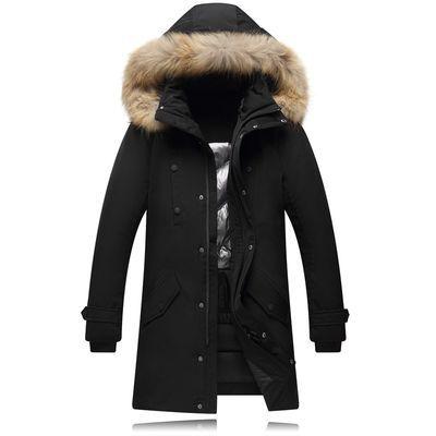 反季特卖冬季新款羽绒服男中青年大毛领中长款加厚户外工装外套