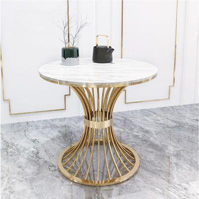 北欧大理石茶几铁艺金色小户型圆桌家用客厅会客桌咖啡厅酒吧桌椅