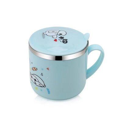304不锈钢儿童水杯双层隔热防摔防烫幼儿园宝宝带手柄盖子口杯子