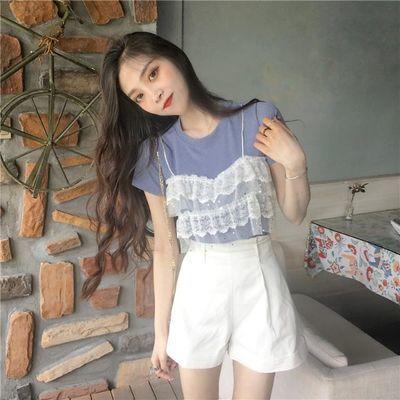 夏季韩版女装新款蕾丝拼接假两件上衣圆领短袖针织针织衫百搭T恤