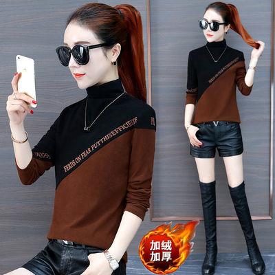 不加绒/加绒打底衫女装长袖2020秋冬新款韩版上衣服修身半高领t恤