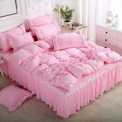 床裙四件套全棉纯棉被套床单单件网红公主风床上用品结婚三四件套
