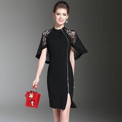 2018新款女拉链蕾丝拼接时尚气质ol通勤修身连衣裙