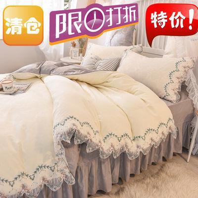 韩版蕾丝花边纯色四件套公主风床裙式磨毛床单被套单双人床上用品