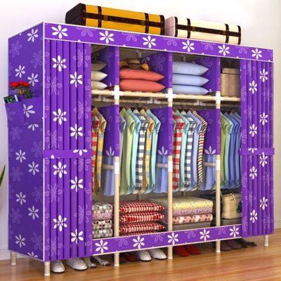 【加粗实木布衣柜】简易衣柜实木组装布衣柜双人衣服收纳柜子大号