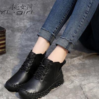 高档正品牌平底女鞋2019新款防滑短靴真皮鞋女软皮软底妈妈鞋休闲