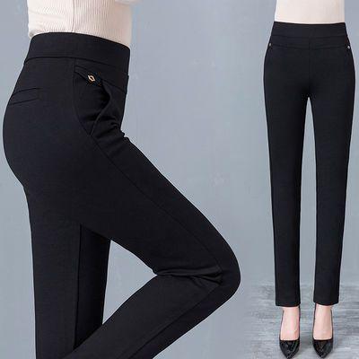 高腰裤子女打底裤外穿女夏季薄款弹力中年女裤显瘦黑色小脚九分裤