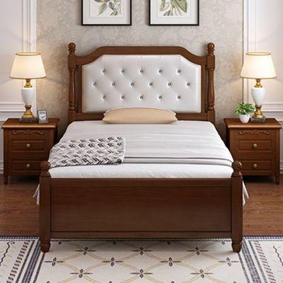 一米单人床美式1米2软包单人储物小床1.5家用橡木实木儿童双人床