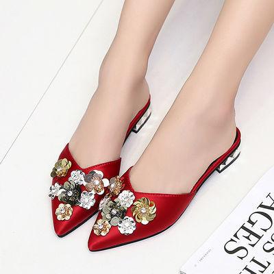 拖鞋女夏家用防滑软底花朵网红包头半拖鞋女2020新款外穿凉拖鞋女